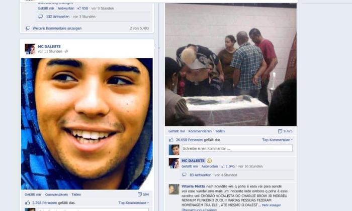 Digitale Erinnerung: Auf MC Dalestes offiziellem Fan-Facebook-Account posten Freunde Fotos von MC_Daleste (Screenshot)