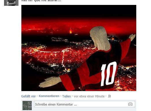 Cristo - Fußball ist Gott und Jesus trägt ein Flamengo-Trikot (Screenshot Facebook)
