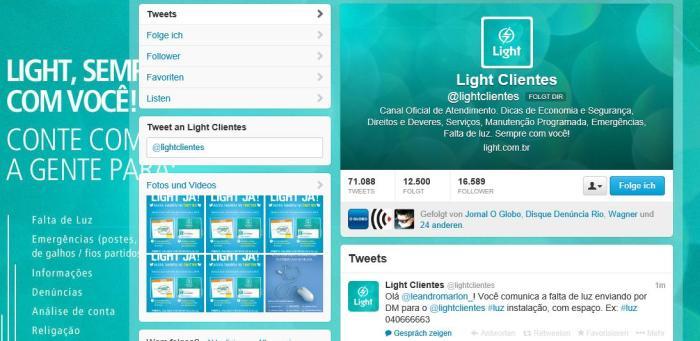 Light: Zahlreiche Beschwerden per Twitter (Screenshot)