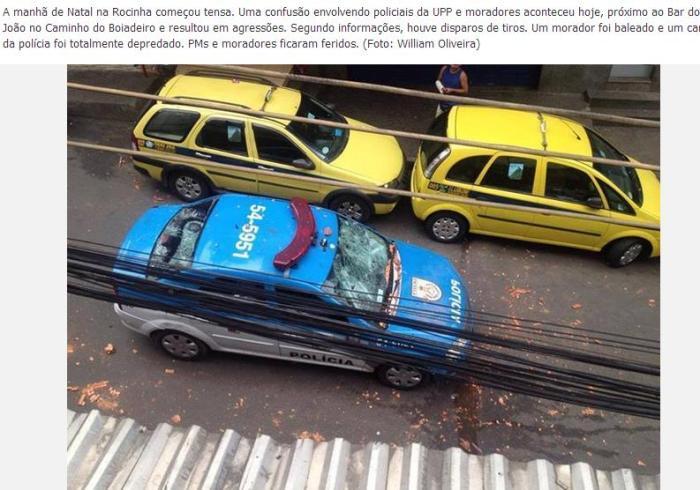 Demoliertes Polizeiauto (Foto: Michel Silva)