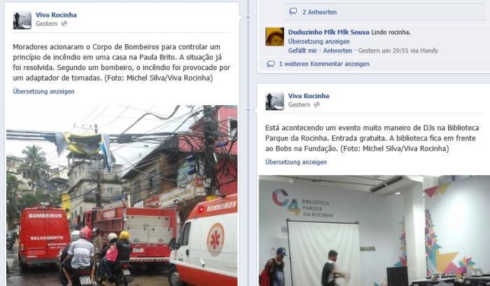 "Live aus der Favela (Screenshot Facebook ""Viva Rocinha"")"