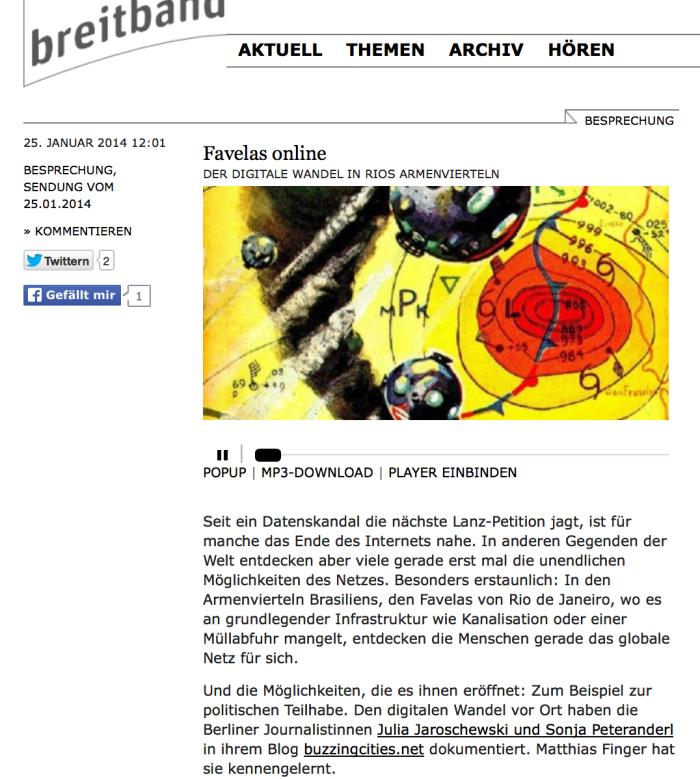 Favelas Online: Wir bei der Breitband-Sendung