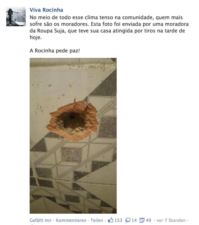 Einschussloch an einer Hauswand (Foto: Viva Rocinha)