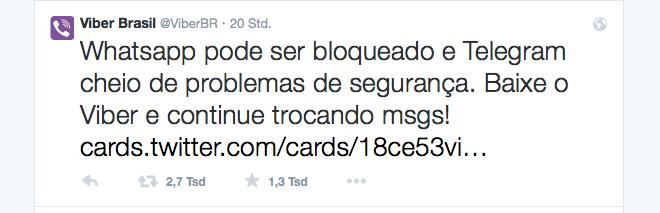 Viber freute sich Twitter (Screenshot von twitter)