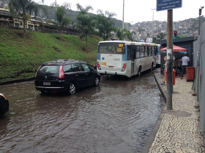 Überflutung vor der Favela (Foto: BuzzingCities)
