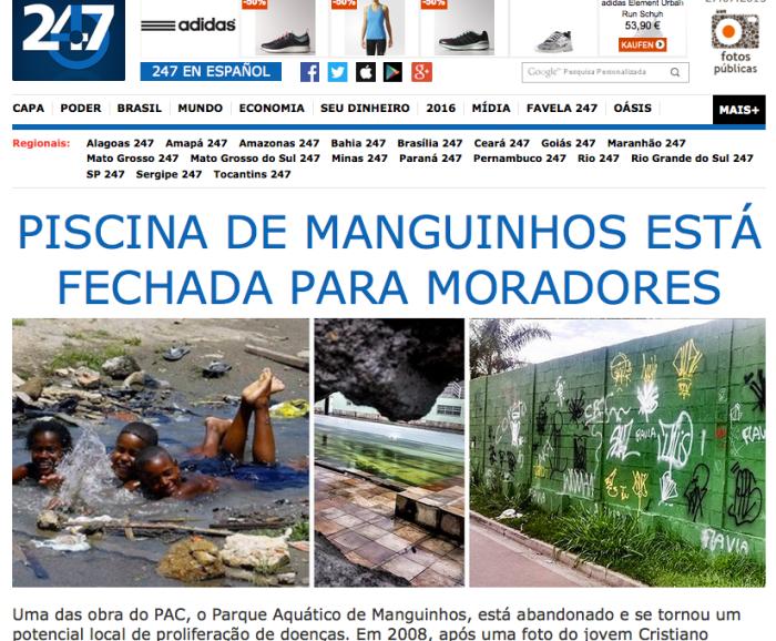 Screenshot Brasil 247: Christiano spielt im Dreck in der Favela (l.) das verwahrloste Schwimmbad (Mitte, r.)