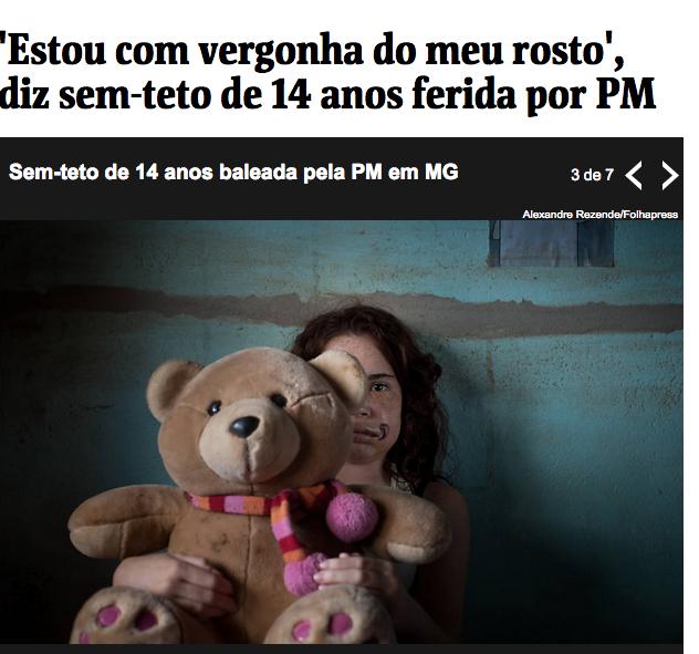 """""""Ich schäme mich für mein Aussehen"""", sagt das Mädchen (Screenshot Folha de São Paulo)"""