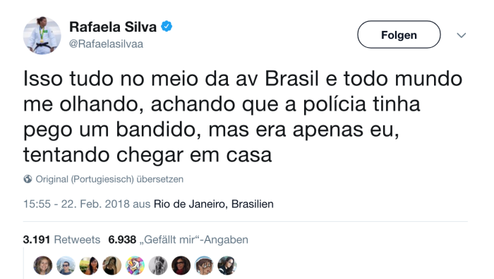 Twitter Screenshot Rafaela Silva