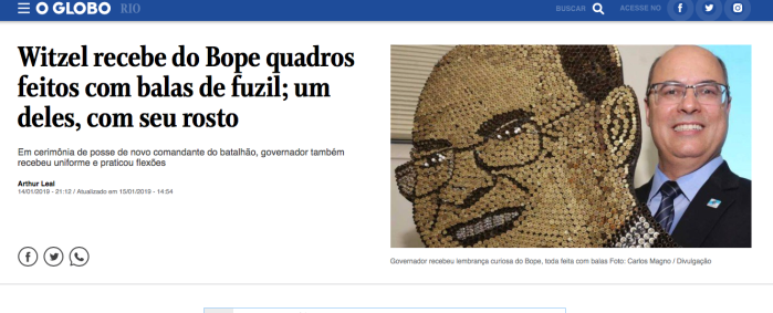 Wilson Witzel mit Portrait aus Kugeln (Screenshot: OGlobo)